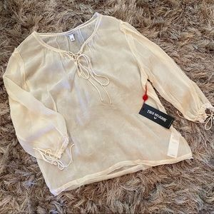 True Religion Ivory Lace Up Peasant Top (NWT)